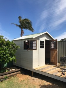 Painted Master Shed with Deck